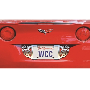 2005-2013 C6 Corvette Flags and Flames Stainless Steel License Plate Frame