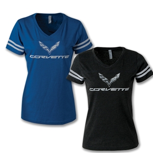 C7 Corvette Crossed Flags Ladies Football Jersey V-neck Tee - Blue/Smoke