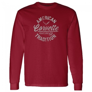 C1 - C7 Corvette American Tradition Long Sleeve Tee - Garnet