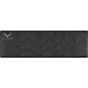 "C7 Corvette Premium Garage Floor Mat with Crossed Flags Logo & Corvette Script - 66"" x 20"" - Mosaic Onyx"