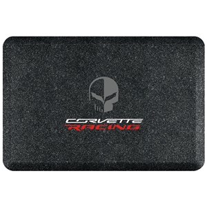 "C7 Corvette Premium Garage Floor Mat with Corvette Racing Jake Skull Logo - 32"" x 20"" - Mosaic Onyx : C7 Stingray, Z51, Z06, Grand Sport, ZR1"
