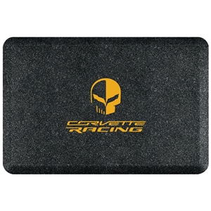 "C7 Corvette Premium Garage Floor Mat with Yellow Corvette Racing Jake Skull Logo - 32"" x 20"" - Mosaic Onyx : C7 Stingray, Z51, Z06, Grand Sport, ZR1"