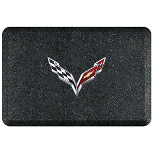 "C7 Corvette Premium Garage Floor Mat with Crossed Flags Logo - 32"" x 20"" - Mosaic Onyx"