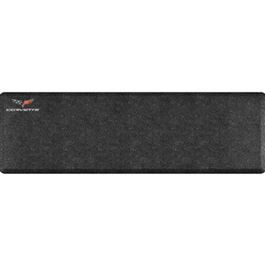 "2005 -2013 C6 Corvette Premium Garage Floor Mat with Crossed Flags Logo & Corvette Script - 66"" x 20"" - Mosaic Onyx"