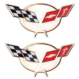 "Gold Foil 1997-2004 C5 Corvette Domed Decal - 2.375"" x 1.25"" : 2 pc. Set"
