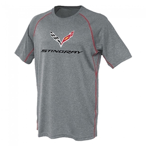 C7 Corvette Stingray Contrast Stitch Tee : Gray/Red
