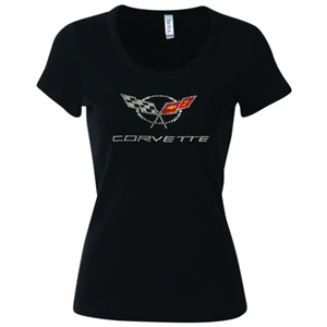 Corvette - Ladies Crossed Flags Rhinestone Scoop Neck Tee : C5 1997-2004