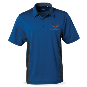 C7 Corvette DryTec Colorblock Polo - Blue