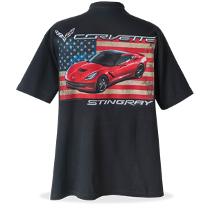 C7 Corvette Flag T-shirt : Black