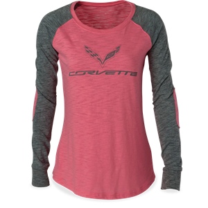 C7 Corvette Ladies Raglan Patch T-shirt : Pink/Grey