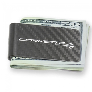 C7 Corvette Stingray Carbon Fiber Money Clip - Black