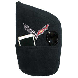 C7 Corvette Stingray Seat Armour Console Cover w/Embroidered Crossed Flags Logo : Black