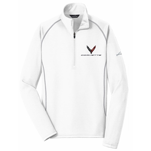 C8 Corvette Next Generation Eddie Bauer Half Zip Fleece Jacket : White