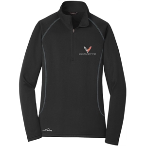 C8 Corvette Next Generation Eddie Bauer Half Zip Fleece Jacket - Ladies : Black