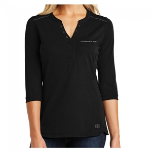 C8 Next Generation Corvette Ladies Ogio Henley : Black.