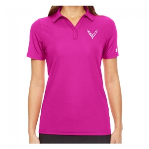 C8 Next Generation Corvette Ladies Under Armour Polo : Pink.