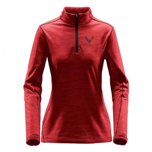 C8 Corvette Next Generation Ladies Quarter-Zip : Rasberry.