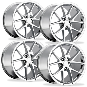 2009 C6Z06 Spyder Corvette GM Wheels (Set) : Chrome 18x9.5/19x12 2006-2013 Z06