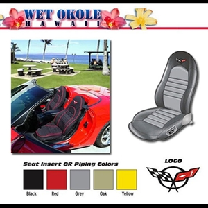 Corvette Seat Covers - Neoprene Black with Red Inserts (Single Electric Seats) : 1997-2004 C5 & Z06