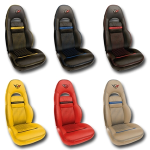 Corvette Seat Cover - Accented Custom Leather for Sport Seats : 1997-2004 C5 & Z06