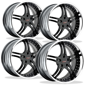 Corvette Custom Wheels WCC 946 EXT Forged Series (Set) : Black Face with Chrome Lip