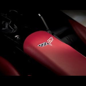 Corvette Console Lid Cover - GM Embroidered : 2005-2013 C6,Z06,ZR1,Grand Sport