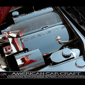 Corvette Fuel Rail Covers - Polished Stainless Steel with Brushed Letters : 1999-2004 C5 & Z06