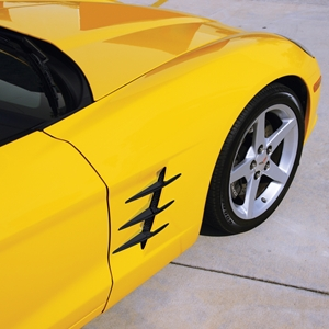 Corvette Fender Blades Billet - Black : 2005-2013 C6