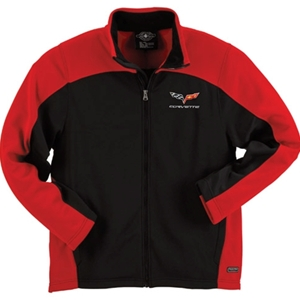 Corvette Mens Bonded Jacket with C6 Logo - Red / Black : 2005-2013