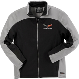 Corvette Mens Bonded Jacket with C6 Logo - Gray / Black : 2005-2013 C6
