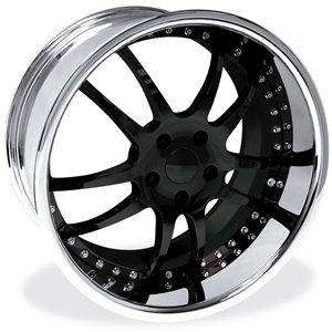 Corvette Custom Wheels - WCC 947 EXT Forged Series : Black w/ Chrome Lip C5 C6 Z06