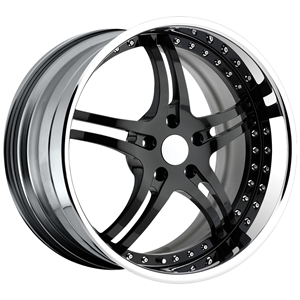 Corvette Custom Wheels WCC 946 EXT Forged Series : Black Face with Chrome Lip