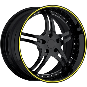 Corvette Custom Wheels - WCC 946 EXT Forged Series : Gloss Black with Yellow Stripe