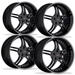 Corvette Custom Wheels - WCC 946 EXT Forged Series (Set) : Gloss Black with White Stripe