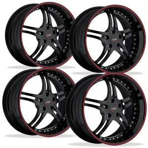 Corvette Custom Wheels - WCC 946 EXT Forged Series (Set) : Gloss Black with Red Stripe