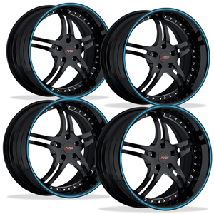 Corvette Custom Wheels - WCC 946 EXT Forged Series (Set) : Gloss Black with Blue Stripe