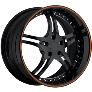 Corvette Custom Wheels - WCC 946 EXT Forged Series : Gloss Black with Orange Stripe