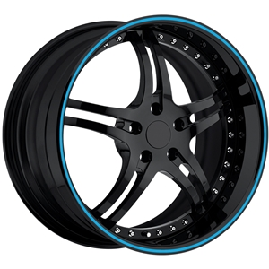 Corvette Custom Wheels - WCC 946 EXT Forged Series : Gloss Black with Blue Stripe