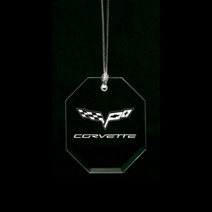 Corvette Christmas Tree Crystal Ornament - Hex Shape with Emblem : 2005-2011 C6, Z06