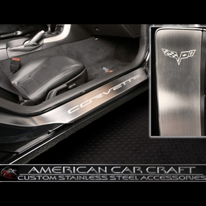 Corvette Door Sill Protectors w/Etched C6 Emblem - Stainless Steel : 2005-2011 C6