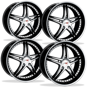 Corvette SR1 Performance Wheels - BULLET Series (Set) : Black Chrome 18x8.5/19x10 1997-2013 C5,C6