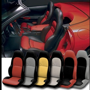 Corvette Seat Cover - 2-Tone Custom Vinyl - Modified for Standard Seats : 1997-2004 C5 & Z06