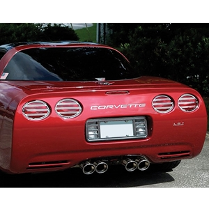 Corvette Taillight Grilles Slotted Style - Polished Stainless Steel 4 Pc. Set :  1997-2004 C5 & Z06