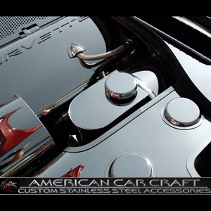 Corvette Brake Master Cylinder Cover with Chrome Cap Cover - Polished Stainless Steel : 1997-2004 C5 & Z06