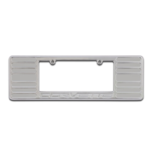 Corvette License Plate Frame - Chrome Billet Aluminum with Corvette Script : 2005-2013 C6,Z06,ZR1,Grand Sport