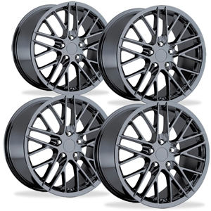 2009 ZR1 Style Corvette Wheels (Set) : PVD Black Chrome