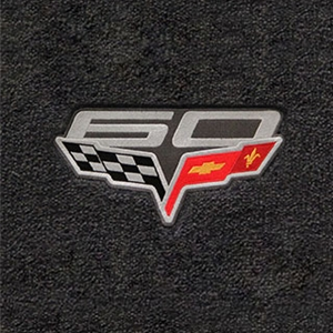 Corvette Floor Mats - 60th Anniversary above Flags : 2007.5-2013 C6, Z06, Grand Sport & ZR1- Ebony - Set of 2