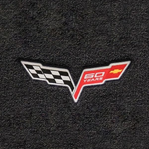 Corvette Lloyd Ultimat Floor Mats - 60th Anniversary in Cross Flags : 2007.5-2013 C6, Z06, Grand Sport & ZR1- Ebony - Set of 2