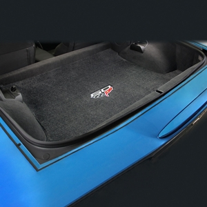 Corvette Convertible Cargo Mat - 60th Anniversary above Flags : C6 or Grand Sport - Ebony
