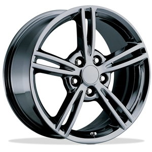 2008 Split Spoke Corvette GM Wheel Exchange (Set) : Black Chrome 18x8.5/19x10 : 2005-2013 C6